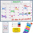 "Monday to Sunday Dry Erase Calendar Whiteboard - 1612"" Monthly Magnetic Fridge Planner INCLUDES Magnetic My Lists pad, Erasable Markers, Magnetic Eraser and BONUS12 Magnetic Pins by Curiosity"