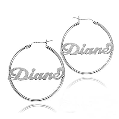328ddf265 Amazon.com: Ouslier Personalized 925 Sterling Silver Hoop Name Earrings  Custom Made with Any Names (Silver): Jewelry