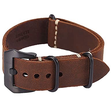 5175c55fe30 Carty Replacement Watch Band Strap Vintage Handmade Crazy Horse Leather  Zulu NATO 20mm Dark Brown