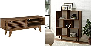 Modway Render Mid-Century Modern Low Profile 48 Inch TV Stand in Walnut & Transmit Mid-Century Offset Cube Wood Bookcase in Walnut