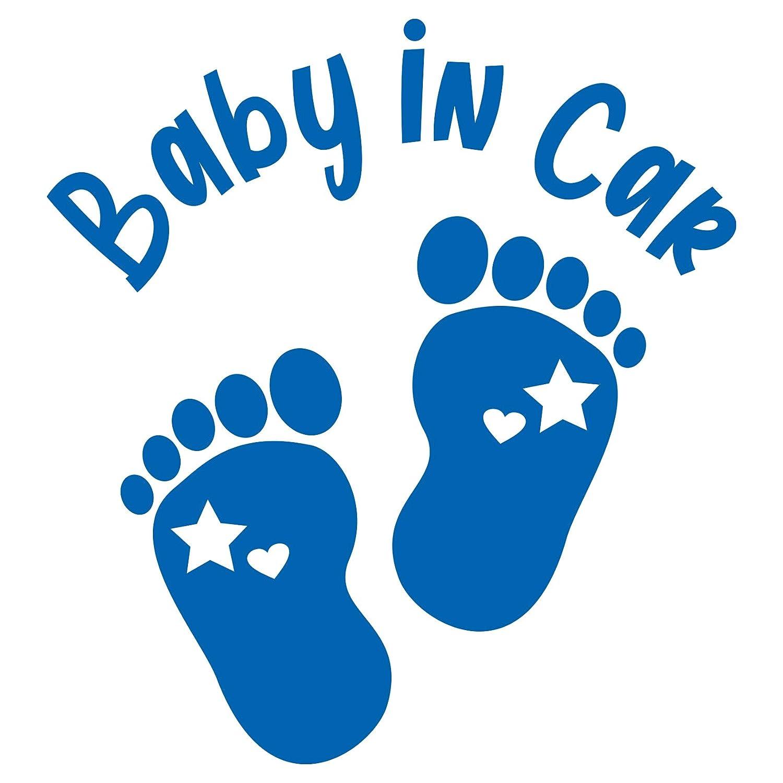 Baby In Car Aufkleber Autoaufkleber Sticker Für Kfz Babyaufkleber Selbstklebend Wetterfest Wasserfest Vinyl Auto Zubehör K148 Azurblau Fußabdrücke Baby