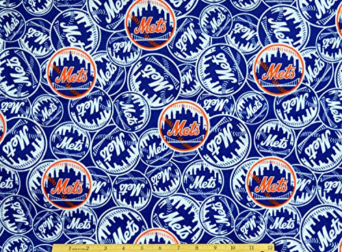 New York Mets Fabric MLB Baseball Fabric in Blue by Fabric Traditions 100% Cotton Fabric by The - York Fabric Mets New