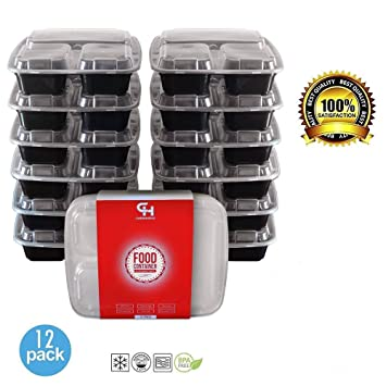 containershub- Bento Box Tupperware dividido Recipientes con tapas/rectangular Microondas Cajas de to go