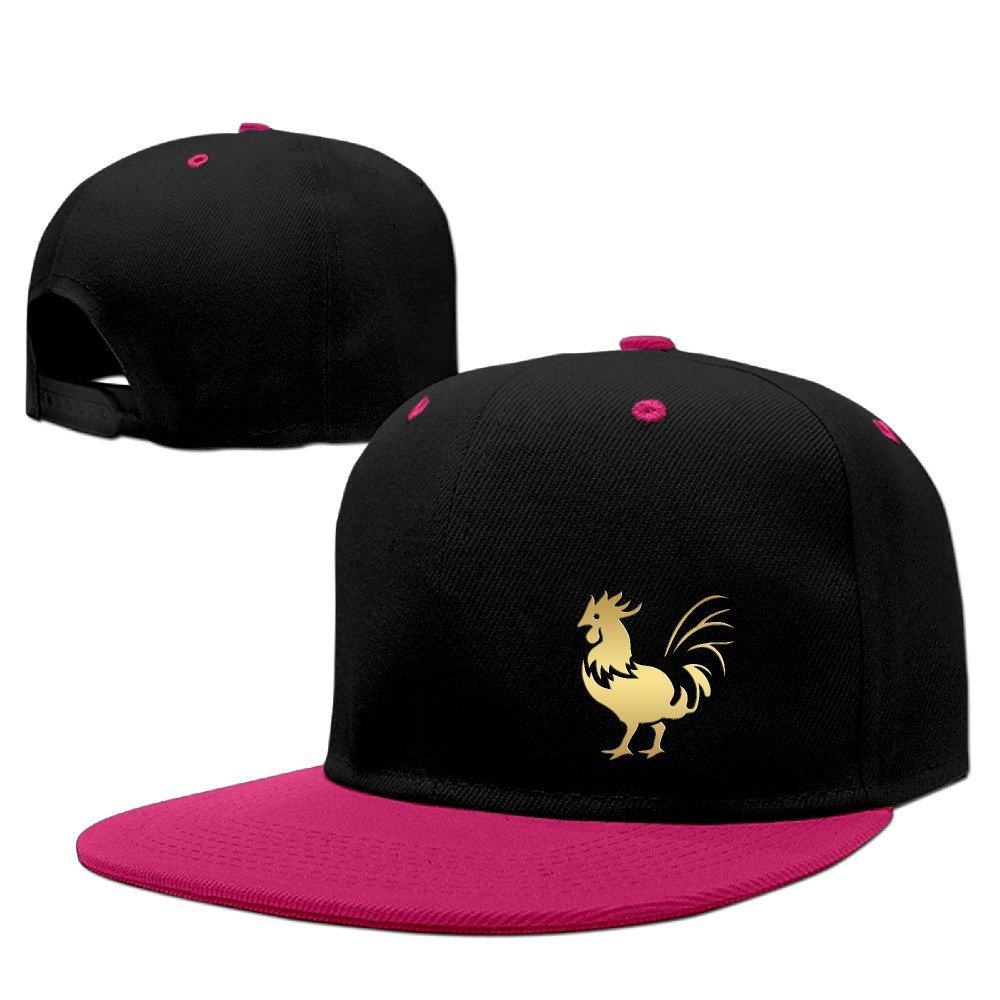 HUMRN BADE Chinese Zodiac Golden Animals Rooster Unisex Hip Hop Snapback Baseball Hat Red