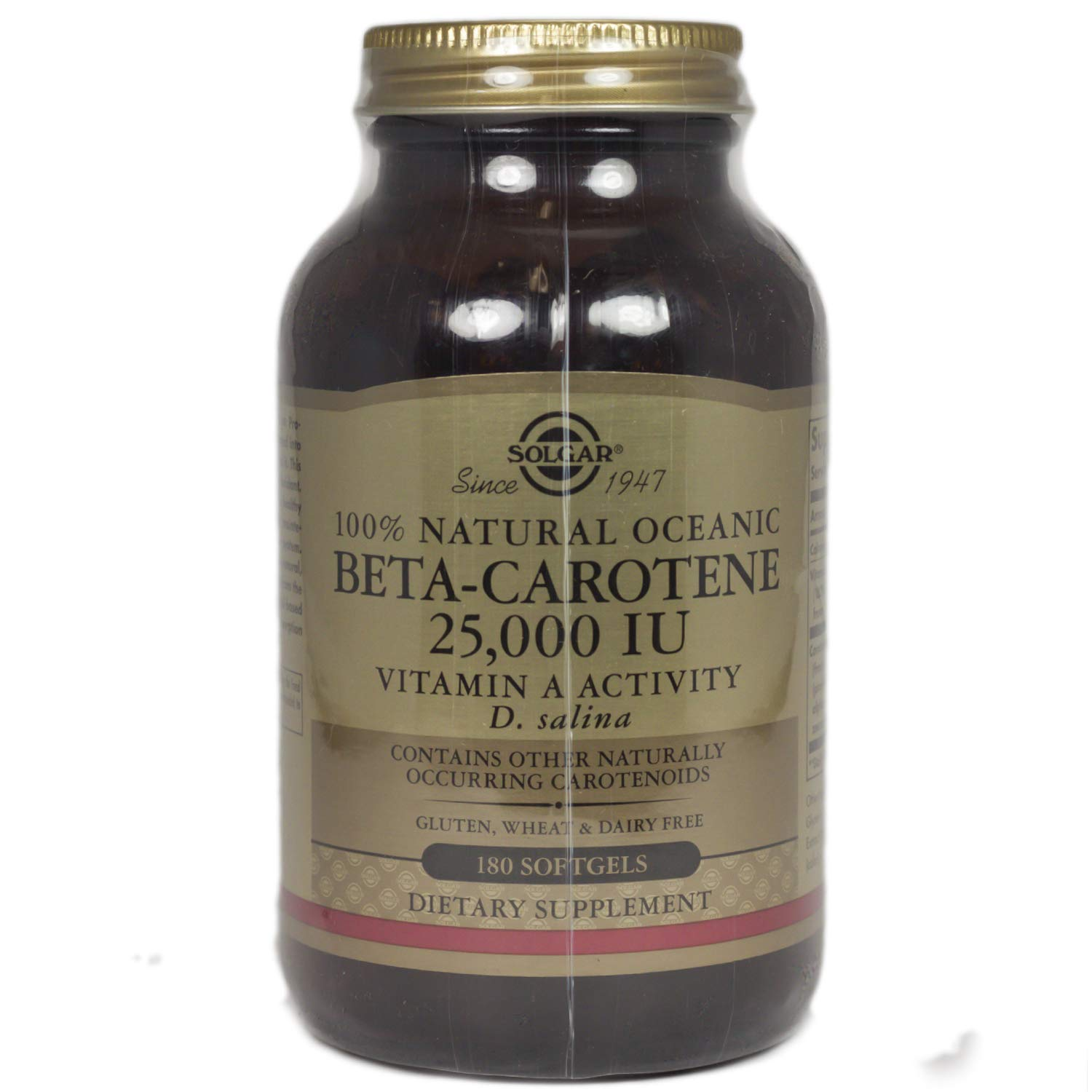 Solgar Oceanic Beta Carotene 25,000 IU Softgels, 180 Count