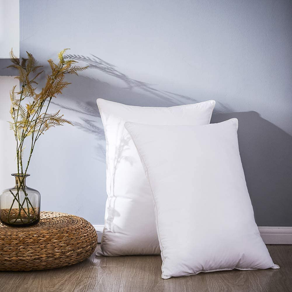 Luxury 1000TC The Finest 100/% Cotton Down Feather Pillows Queen Size Set of 2