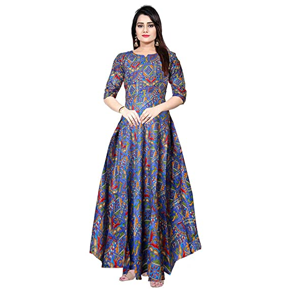 e6b7ed5b6c Silver Organisation Women's Rayon Indo-Western Party wear Gown Blue ...
