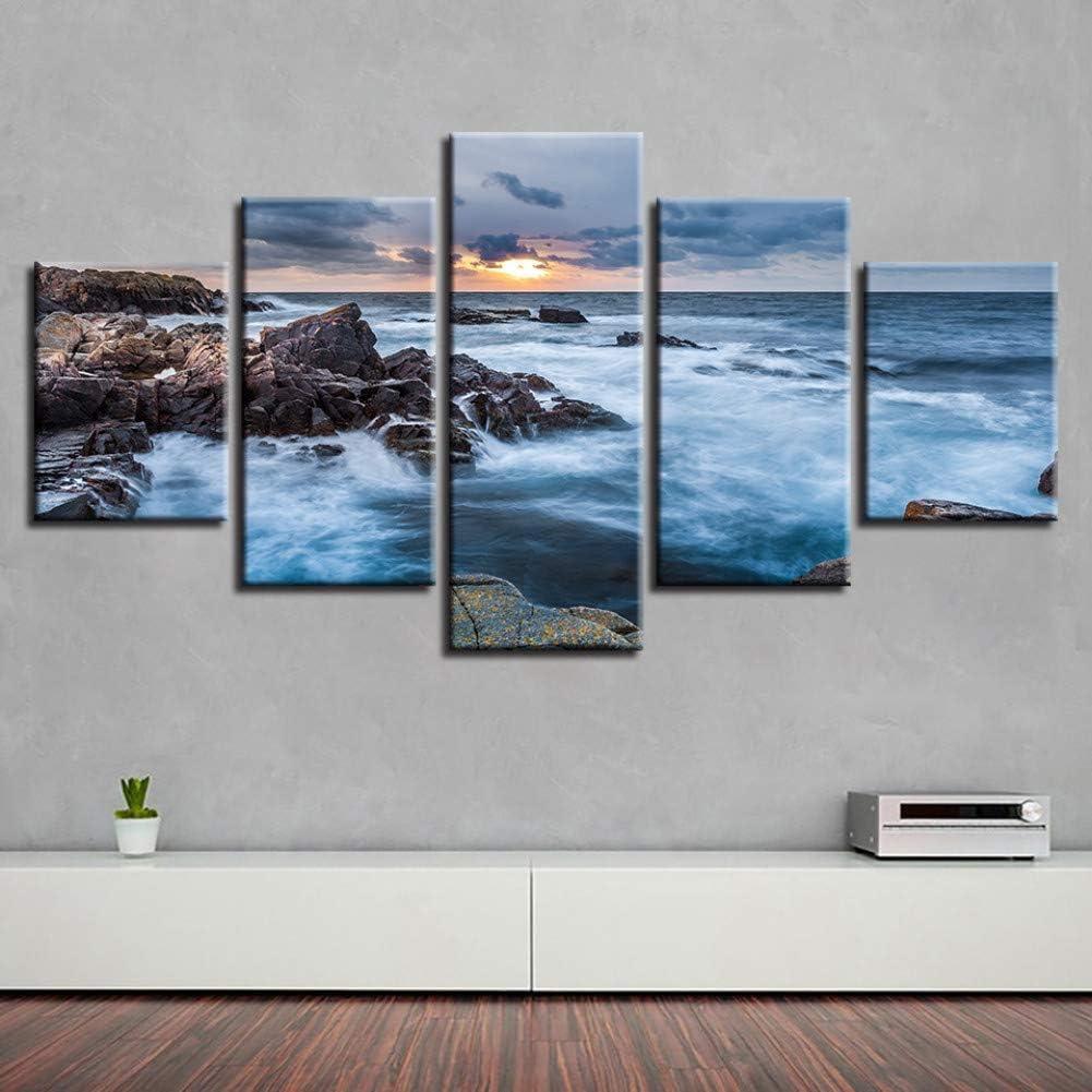 YXBNB 5 lienzosPaisaje mar Playa océano Amanecer Faro Tropical 5 Piezas Cuadros de Pared para Sala de Estar Pintura en Color Arte decoración del hogar