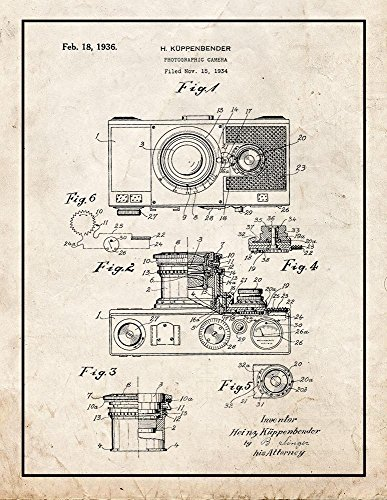 Photographic Camera Patent Print Art Poster Old Look with Border (24' x 36')
