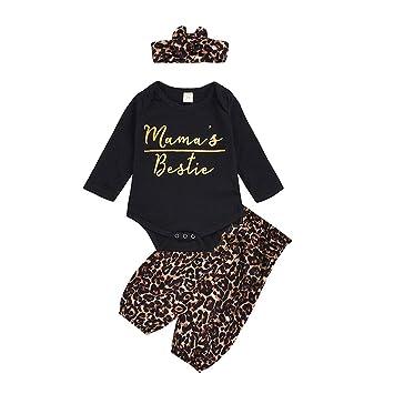 Cute Newborn Baby Girl Boy Romper Leopard Jumpsuit Bodysuit Pants Outfit Clothes