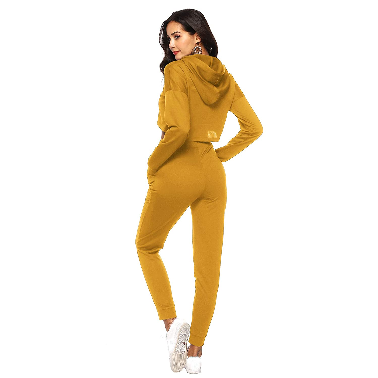 Rvxigzvi Women Casual Sports Sets Hoodie and Sweatpants Tracksuit Set Long Sleeve Crop Top Outfits Sportswear
