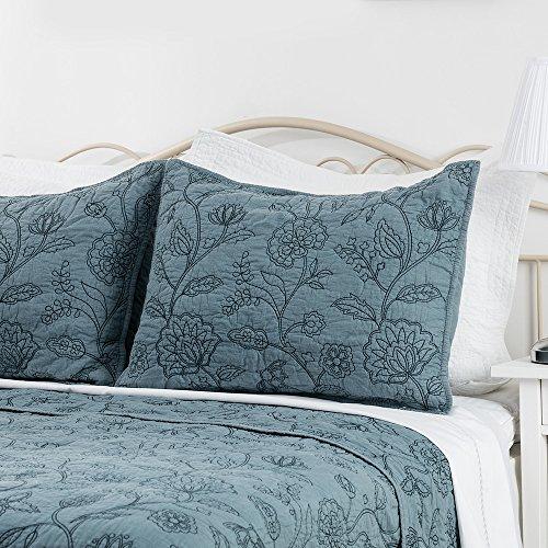 "Elegant Life 100% Cotton Night Blossom Embroidery Pillowcase Pillow Shams, Luxury Floral Pattern Pillow cover, Standard Size, 20""x26""+0.5"" flange, Park Blue (Pillowcase Standard Pattern)"