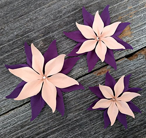 Blush and Deep Purple Set Of 3 Paper Layered Rhinestone Bling Flower Wedding Decoration Favor Card Making from Bella Supply Boutique