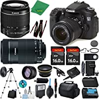 Canon EOS 70D Camera + 18-55mm IS STM + 55-250mm STM + 2pcs 16GB Memory + Case + Memory Reader + Tripod + ZeeTech Starter Set + Wide Angle + Tele + Flash + Battery + Charger