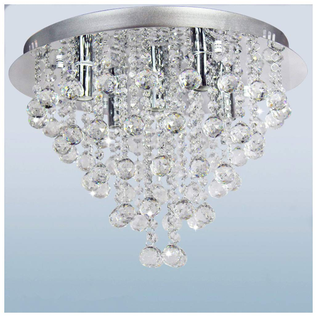 Ceiling Crystal Chandelier, Dst Round Transparent Crystal Ceiling Light Rain Droplet 5 Lights Chandelier Lighting for Dining Room Living Room Study Room Size D45cm H32cm