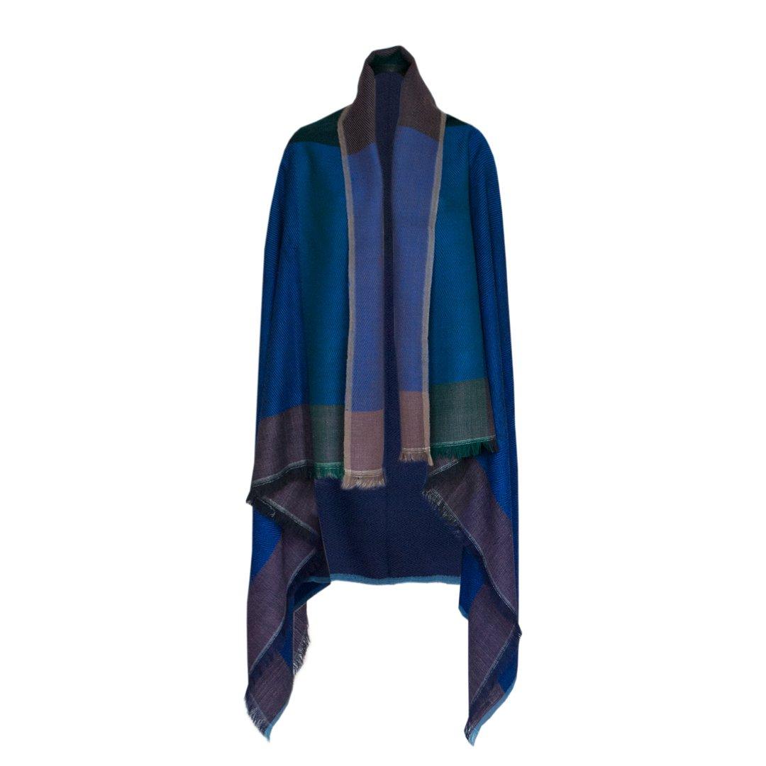 KARIGAR Merino Wool Poncho Cape: 100% Natural Handmade Shawl Wrap (New York)