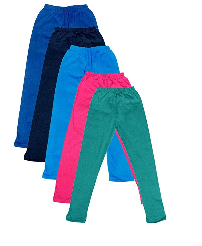 Pack of 5 Indistar Big Girls Cotton Full Ankle Length Solid Leggings -Multiple Colors-7-8 Years
