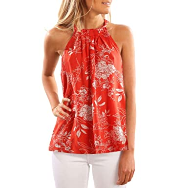 33f4a69822 Oufenli Women Sleeveless Tank Tops High Neck Backless Printed Vest Casual  Tunic Blouse for Summer Orange