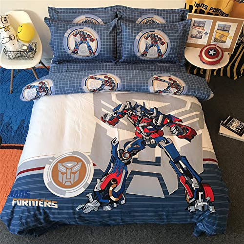 Cenarious Transformers Optimus Prime Blue Boys Cartoon Style Duvet Cover Set Cotton Flat Sheet Bed Cover - 4Pcs Bedding Set - Full Flat Sheet Set - 78