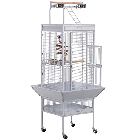 Yaheetech Jaula para Pájaros Jaulas Grandes para Canarios Loros Jaula Metal Grande 64 x 64 x