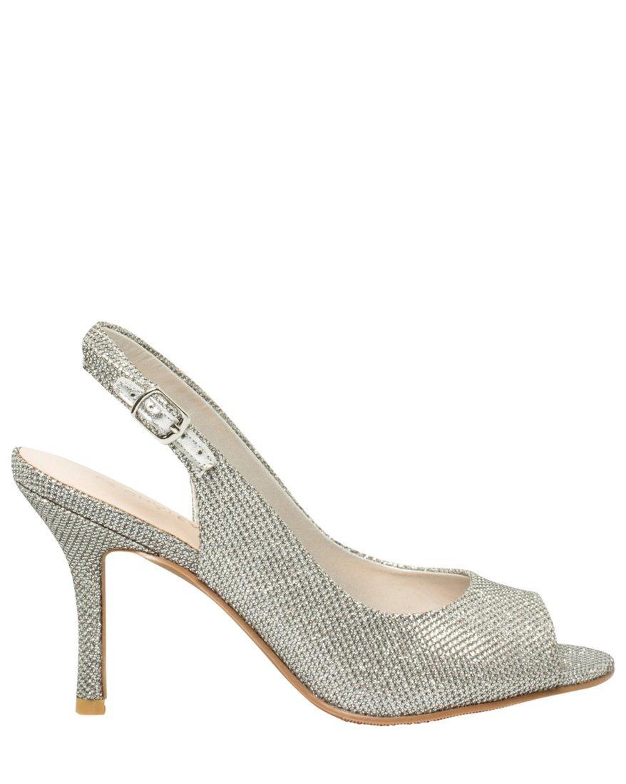 LE CHÂTEAU Women's Peep Toe Glitter Pump,9,Silver