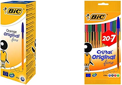 BIC Orange Original Fine bolígrafos punta fina (0,8 mm) Azul, Caja ...