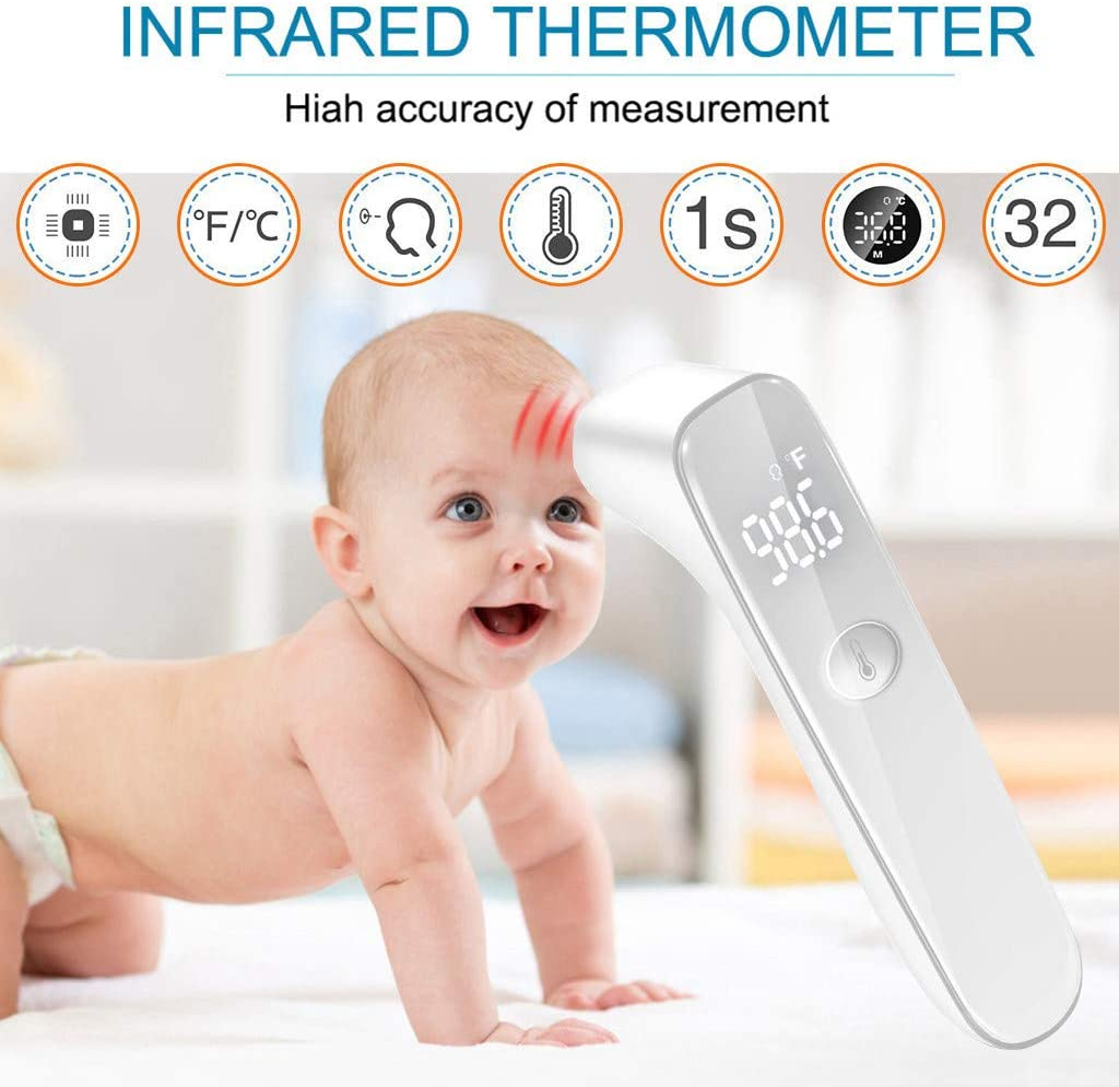 Infrared Forehead Thermom/ètre Contact with Fi/èvre Alarm Non Contact Thermom/ètre with LCD Display for Baby Infant Toddler and accurately Read The Temperature