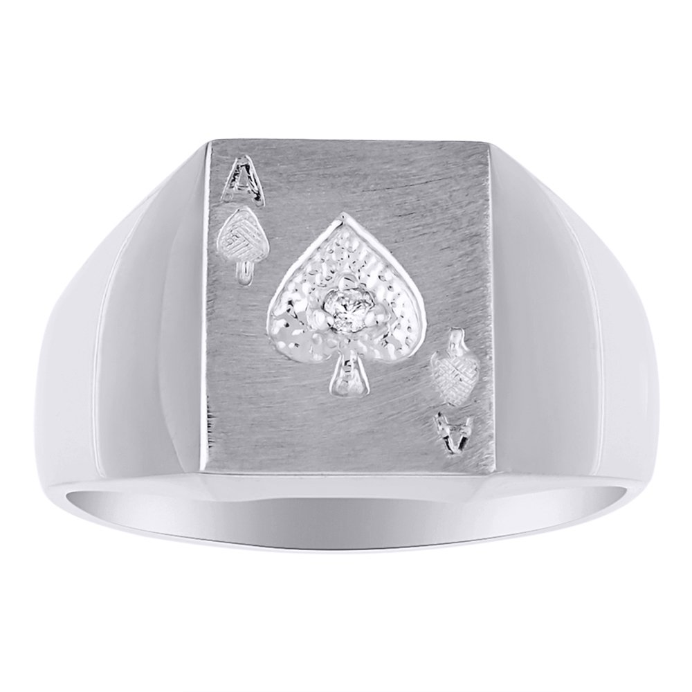 Ace of Spades Poker Ring Diamond Ring Lucky Pinky Ring Sterling Silver or Yellow Gold Plated Silver
