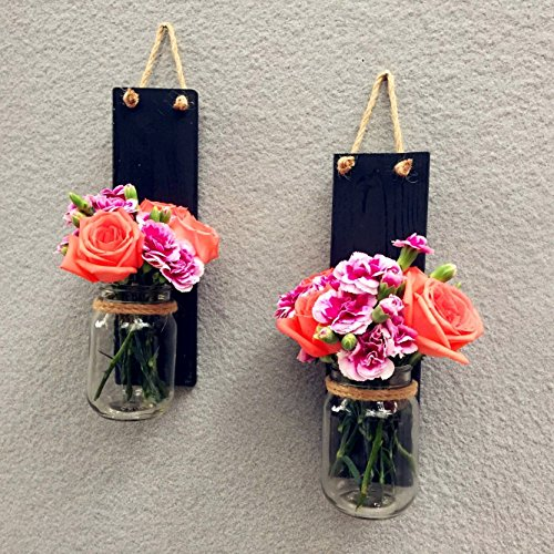 Set of 2 Mason Jar Wall Sconces, Hanging Candle Holder, Country Rustic Wall Decor Wall Vase Candle Holder Hanging Wall Sconces, Pens Pencils Holder Utensils Organizer Storage Organizer