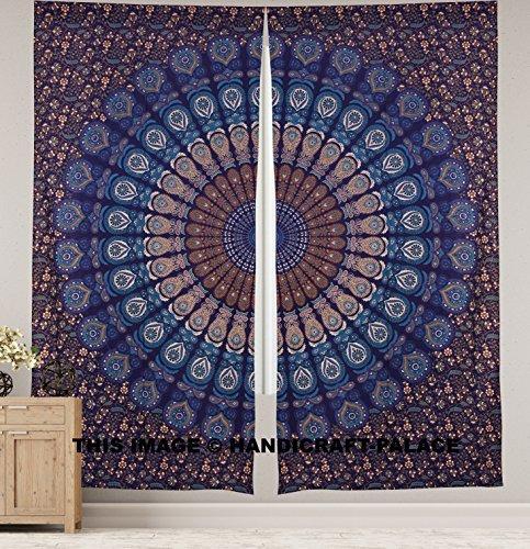 Peacock Mandala Window Curtains Indian Drape Balcony Room Decor Curtain Boho Set Ethnic Window Treatments & Panels Set - Indian Window Curtains