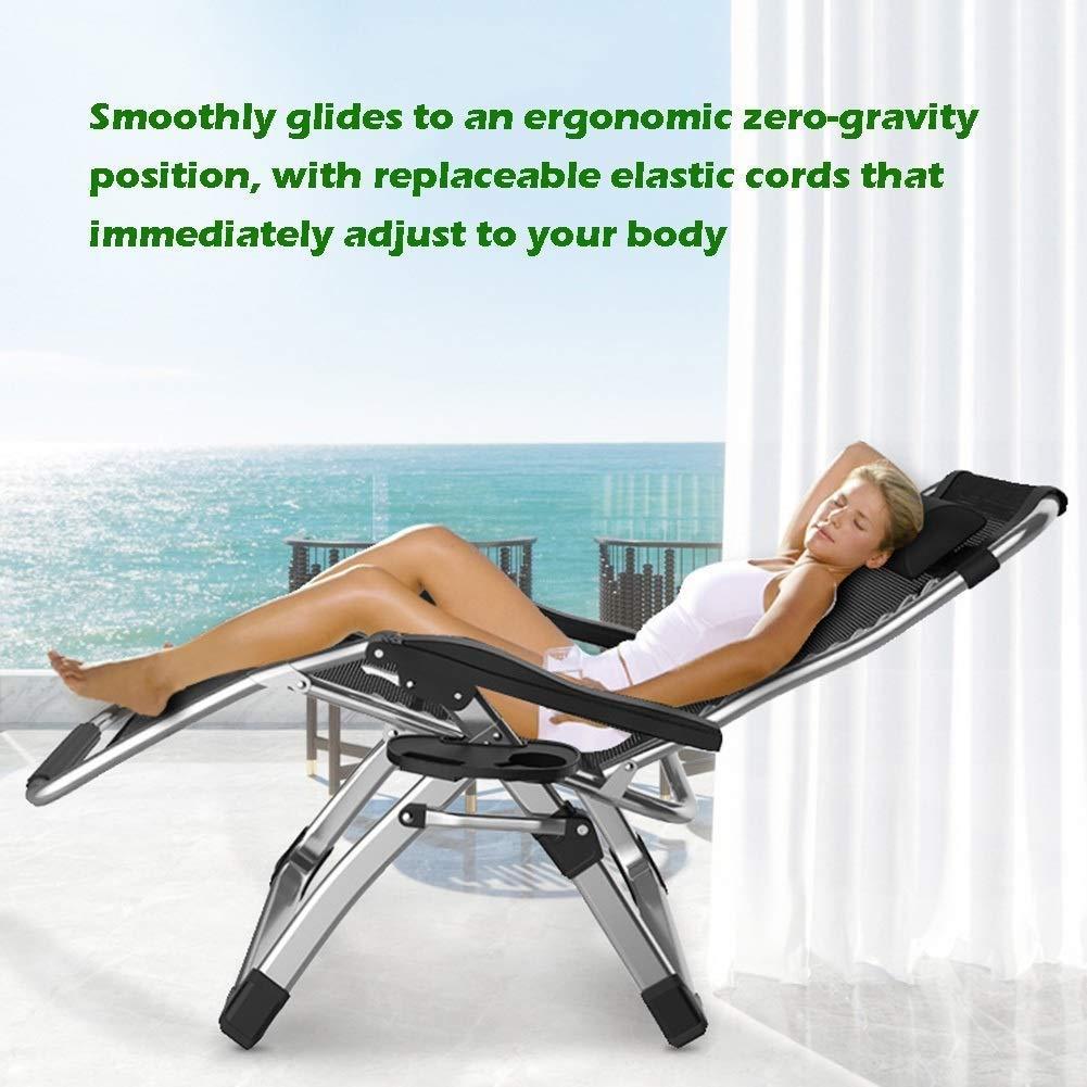 QZ bekväm solstol för terrassen, vikbar, justerbar, för utomhus, kontor, strand, extra bred, med kudde (färg: svart) Grått