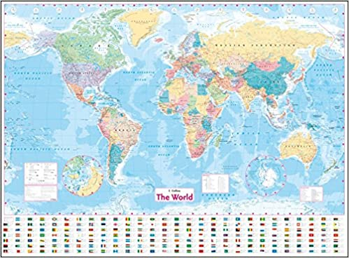 collins world wall laminated map world map amazoncouk collins maps 8601200955422 books