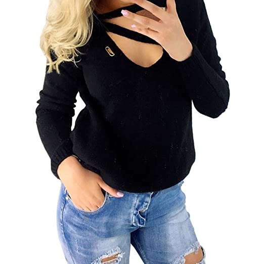 49f622b6c6152 Image Unavailable. Image not available for. Color  haoricu Womens Cut Out  Blouse V-Neck Sweater Long Sleeve Solid Shirt ...