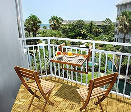 Auspicious Home Juniper Folding Balcony Table & Two Chair Set