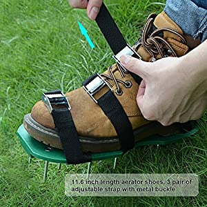 Lawn Aerator Shoes Spiked Sandals with Velcro 3 Straps and Metal Buckles Heavy Duty Deep Spikes for Aerating Garden, Yard, Public Lawn Plaza, Golf Green