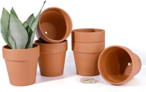 POTEY Terra Cotta Planter Pots with Drainage Hole - 5.5 Inch Medium Terracotta Flower Containers Clay Pots Gardening Indoor Outdoor Pottery Minimalist - 6-Pack, Unglazed 202361