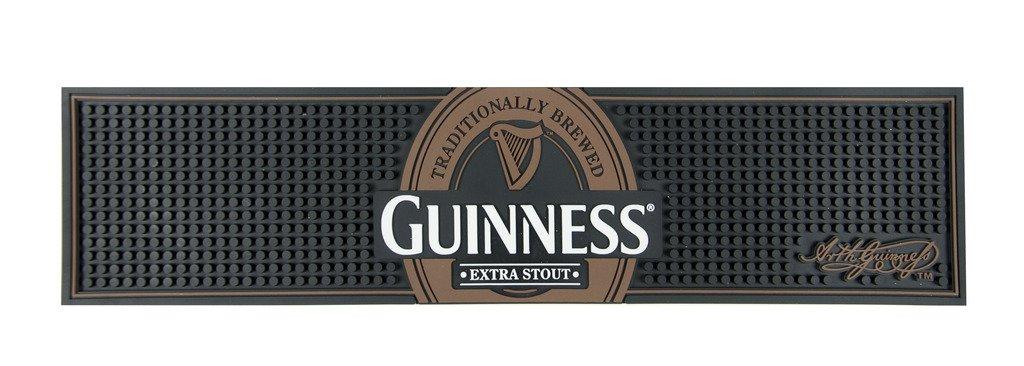 Guinness Gaelic Label Bar Mat - Non Slip Black PVC Rubber Drip Tray (Extra Stout)