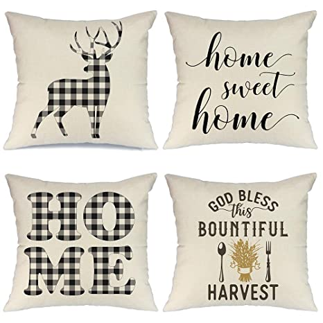 Wondrous Aeney Farmhouse Decorative Pillows Black Buffalo Check Deer Decorative Throw Pillows For Couch Bed Room Sofa Home Sweet Home Throw Pillow Covers 18X18 Inzonedesignstudio Interior Chair Design Inzonedesignstudiocom