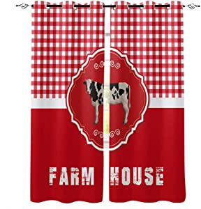 wanxinfu 2 Panel Kitchen Cafe Curtains, Farm Animal Dairy Cattle with Red Grid | Sunlight Filtering Nature Air Through, Home Decor Window Covering Tier for Bedroom Living Room 104W x 52L in