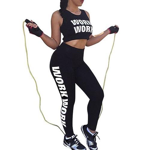 DELEY Mujeres Dos Piezas Elástico Impresión Leggings Chaleco Deportiva Camisetas Yoga Pilates Gimnas...