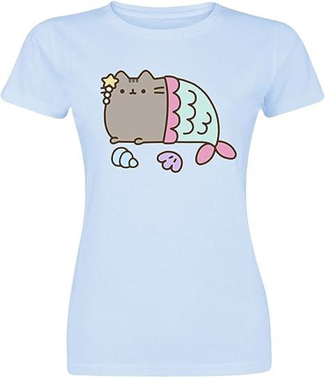 TALLA XL. de algodón azul pusheen camiseta de las señoras Mercat