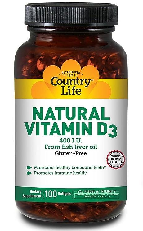 Country Life - Vitamina natural D3 del aceite IU del higado 400 de pescados - 100Cápsulas
