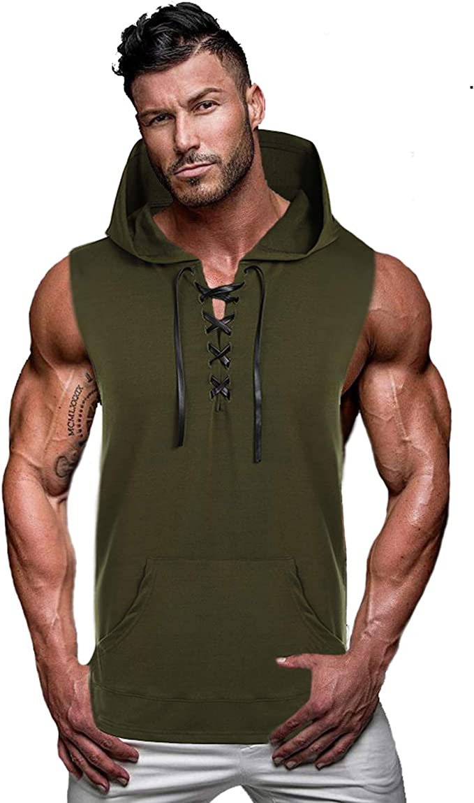 Ogeenier Mens Workout Hooded Tank Tops Sleeveless Gym Hoodies Bodybuilding Dry Fit Muscle Cut Off T-Shirts