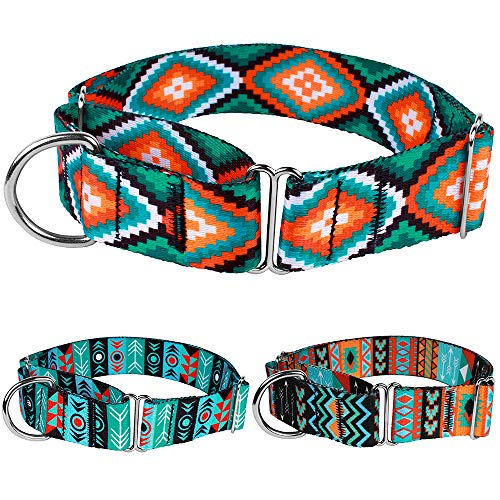 CollarDirect Martingale Dog Collar Nylon Safety Training Tribal Pattern Adjustable Heavy Duty Collars for Dogs Medium Large (Pattern 3, Large, Neck Size ()
