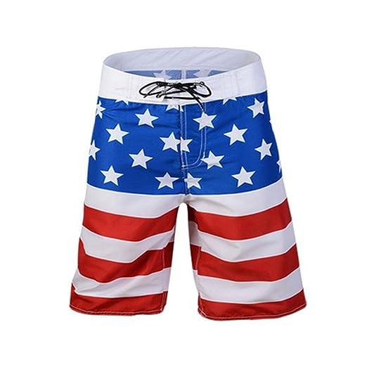 b2b1ee20a9b97 Baby Room Men Casual USA American Flag Swim Trunks Beach Shorts | Amazon.com
