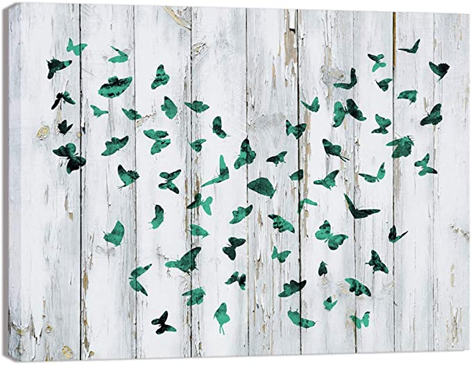 Visual Art Decor Abstract Butterflies On Rustic Wood Background Canvas Wall Art Prints Gallery Wrapped Ready To Hang For Home Office Wall Decoration Posters Prints Amazon Com