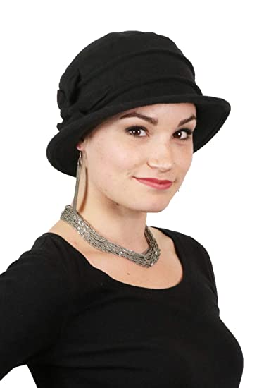 d5ee39b4fc7 Image Unavailable. Image not available for. Color  Fleece Flower Cloche Hat  for Women Cancer Headwear Chemo Ladies Head Coverings