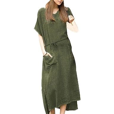 e4be725fb12 Bovake Womens Short Sleeve Cotton Linen Maxi Dress Plus Size