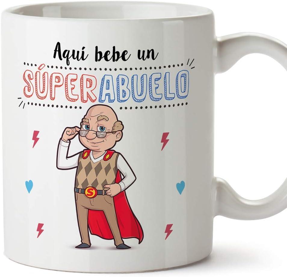 MUGFFINS Taza Abuelo - Aquí Bebe Un Super Abuelo - Taza Desayuno/Idea Regalo Original/Día del Padre para Abuelitos. Cerámica 350 mL