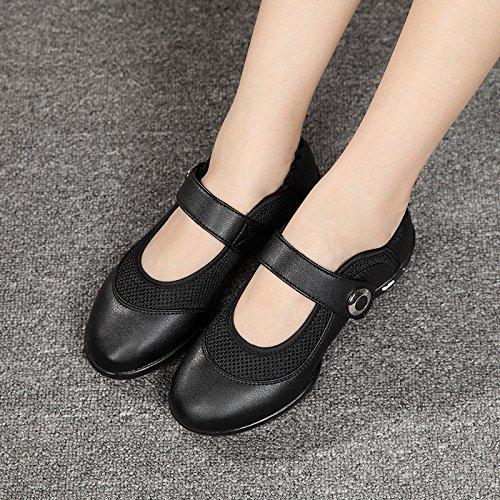 SQIAO-X- Scarpe da ballo Square Dance scarpe fondo morbido movimento in pelle di anziane scarpe da ballo, vino rosso Rete in pelle 40